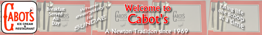 Cabot's Ice Cream & Restaurant welcome banner