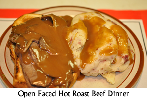 Open Faced Hot Roast Beef Dinner