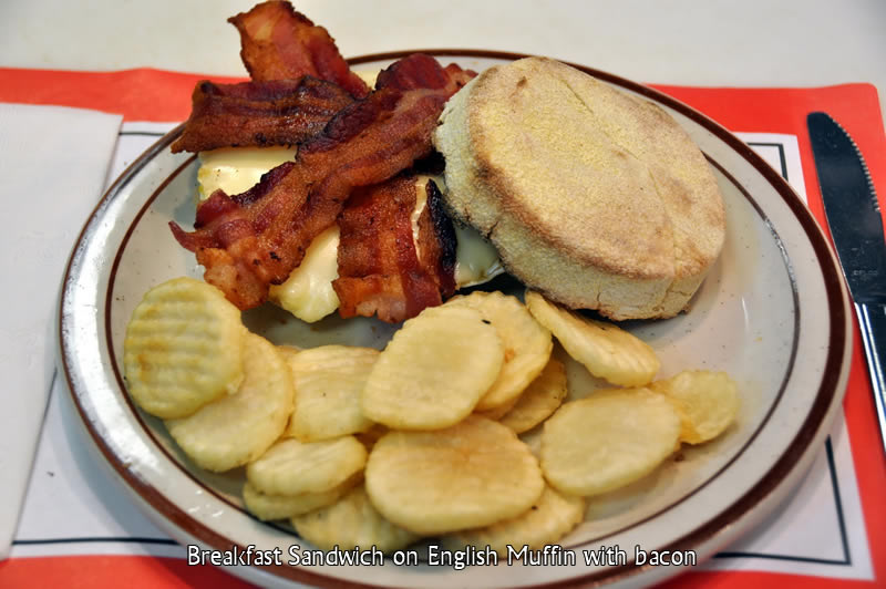 Breakfast Sandwich with Bacon on English Muffin