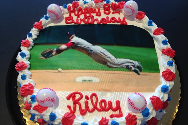 Baseball Themed Ice Cream Cake.
