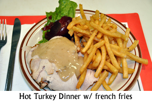 Hot Turkey Dinner with french fries