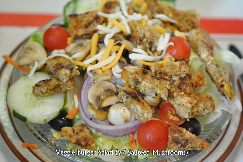 Veggie Burger with Sauteed Mushrooms Salad