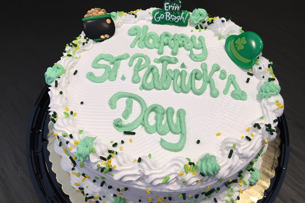 St Patrick's Day Themed Ice Cream Cake.