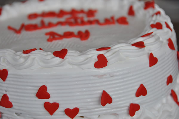 Valentine's Day Themed Ice Cream Cake.