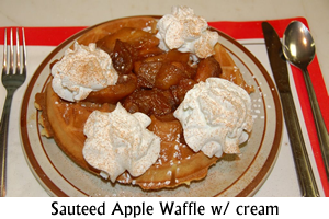 Waffle with Suateed Apples