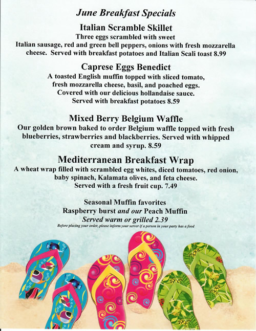 This Month's Breakfast Specials at Cabot's