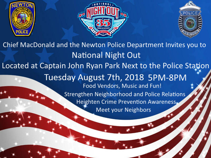 National Night Out - Newton MA August 7th 2018